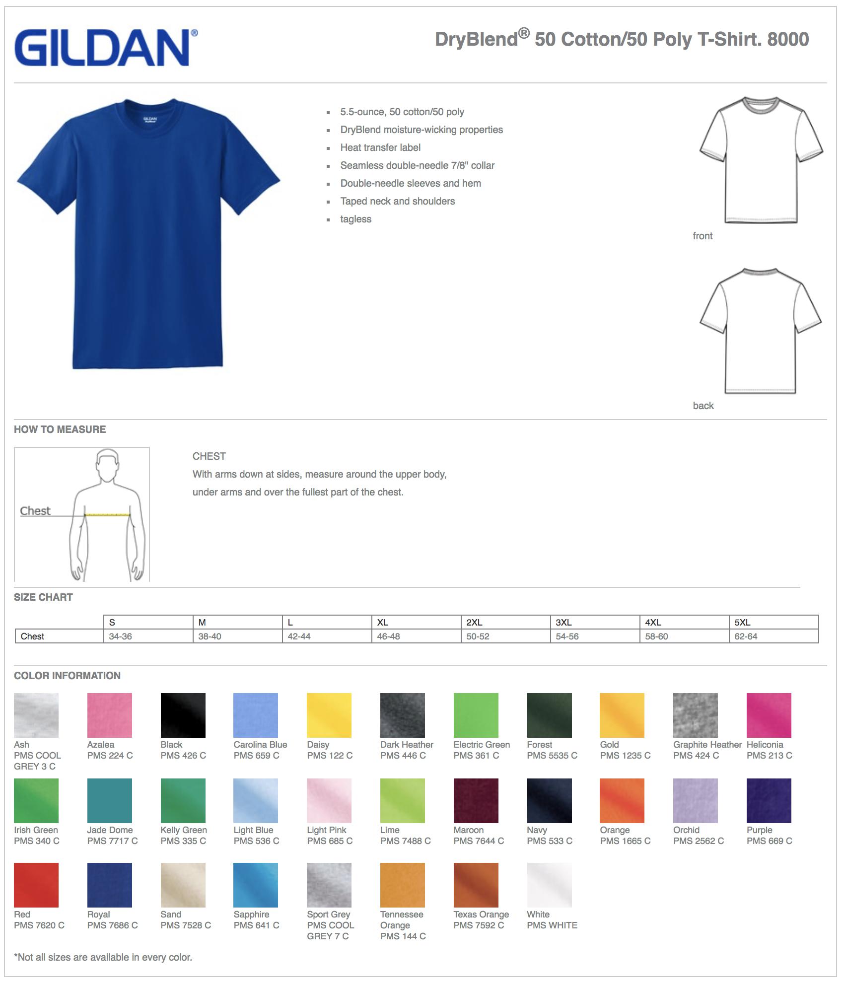 Gildan 8000 Custom T-Shirts